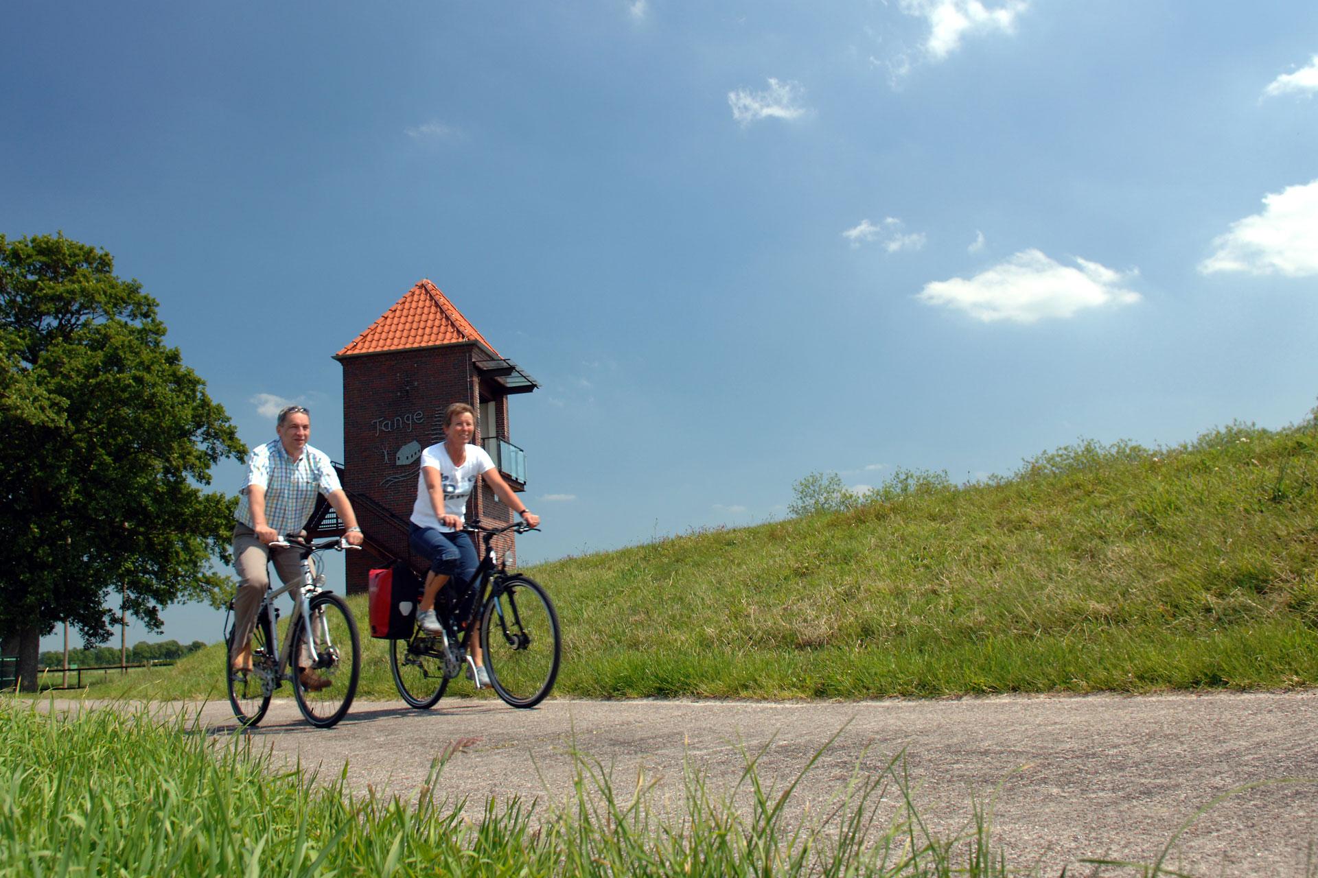 Fahrradfahrer am Deich